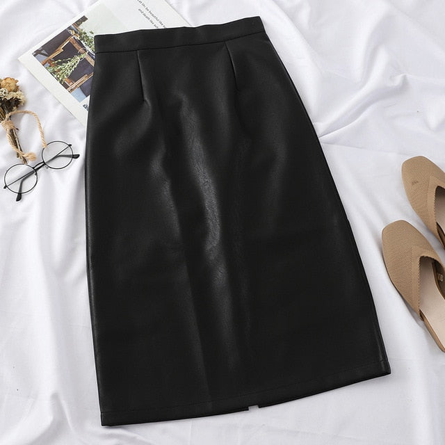 PU Leather Solid Split High-Waist Straight Midi Skirt - LEPITON