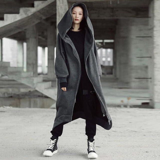 Hooded Long Sleeve Fleece Irregular Long Jacket