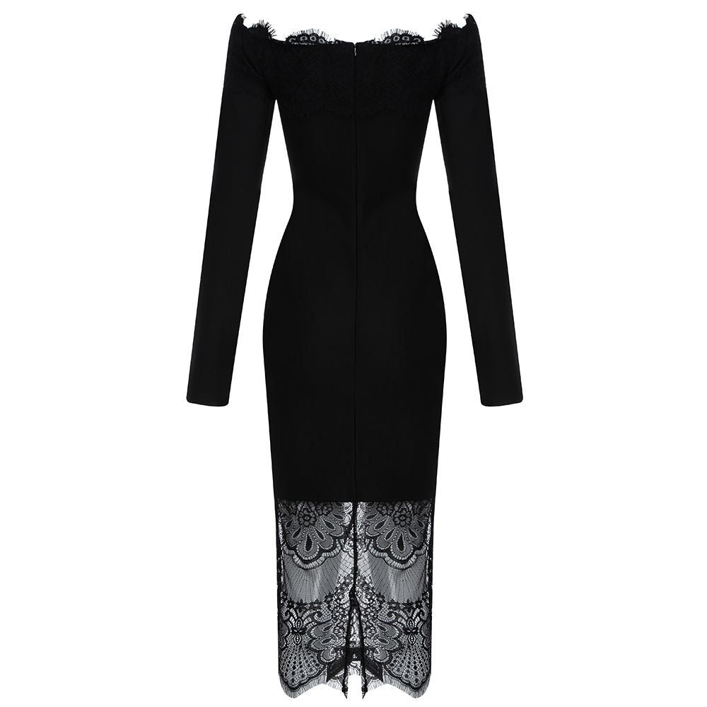 Off the Shoulder Bandage Lace Bodycon Dress - LEPITON