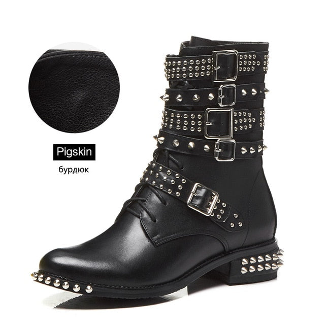 Black Rivet Motorcycle Boots - LEPITON