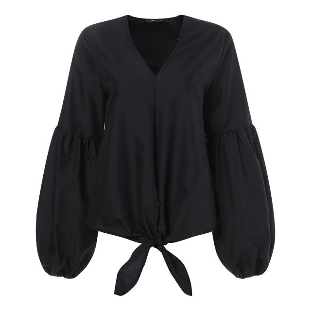Long Puffed Sleeve V-Neck Casual Bow Loose Blouse - LEPITON