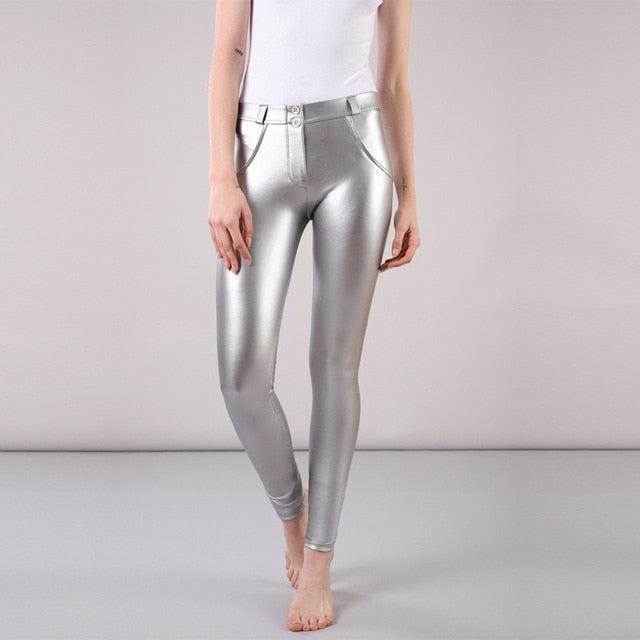 Metallic Reflective Mid Waist Leather Pants - LEPITON