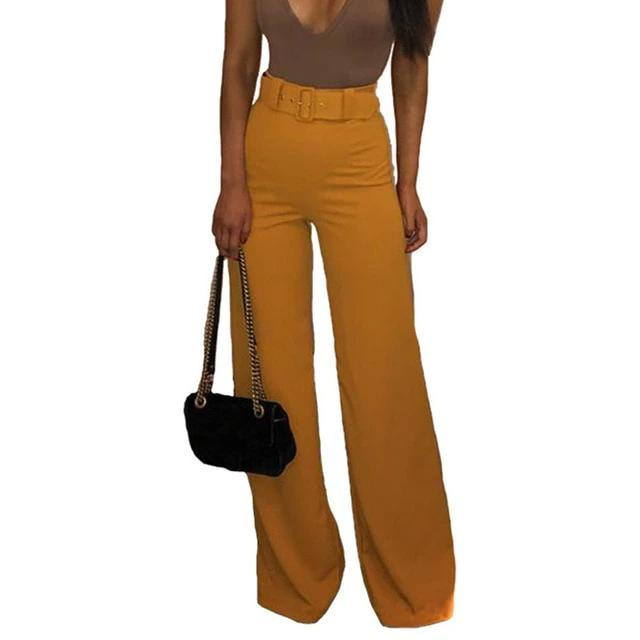High-Waist Wide-Leg Straight Pants with Belt - LEPITON