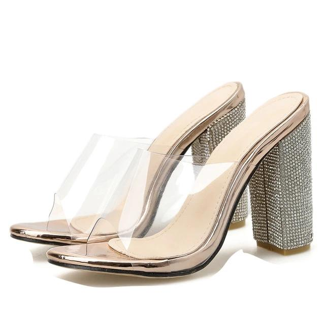 High Square Crystal Heeled Platform Shoes - LEPITON