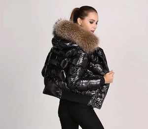 Glossy Hooded Thick Fur Parkas Coat
