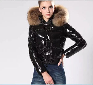 Glossy Hooded Thick Fur Parkas Coat - LEPITON