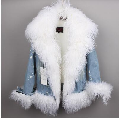 Wool-Lined with Luxurious Wool Fur Collar Denim Coat