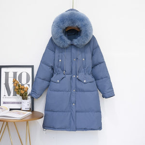 Fox Fur Collar Hooded 90% White Duck Down Jacket