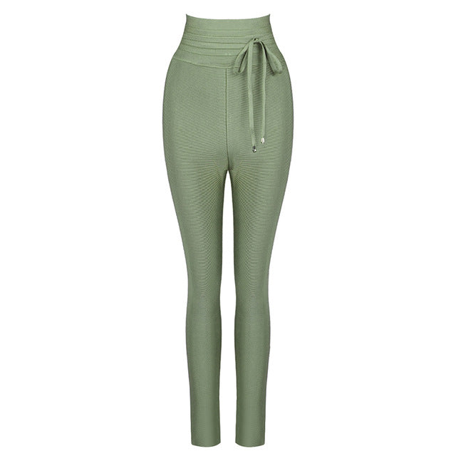 Bandage Mid-Waist Pencil Pants with Belt - LEPITON