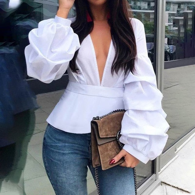 V-Neck Long Puffed Sleeve Elegant Top