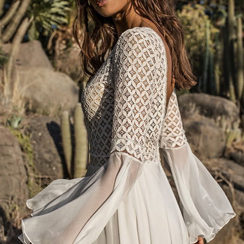 Long Flare Sleeve V-Neck White Tassel Hollow Boho Lace Maxi Dress - LEPITON