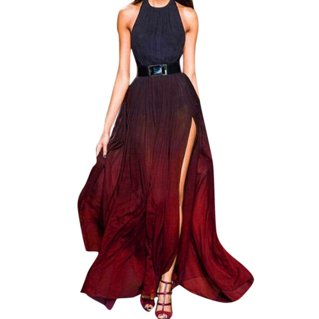 Halter Sling Gradient Color High-Waist Split Maxi Dress - LEPITON