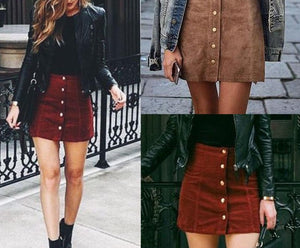 High-Waist Bodycon Suede Short Skirts - LEPITON