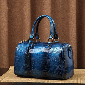 Genuine Leather Crocodile Pattern Tote Pillow Bag