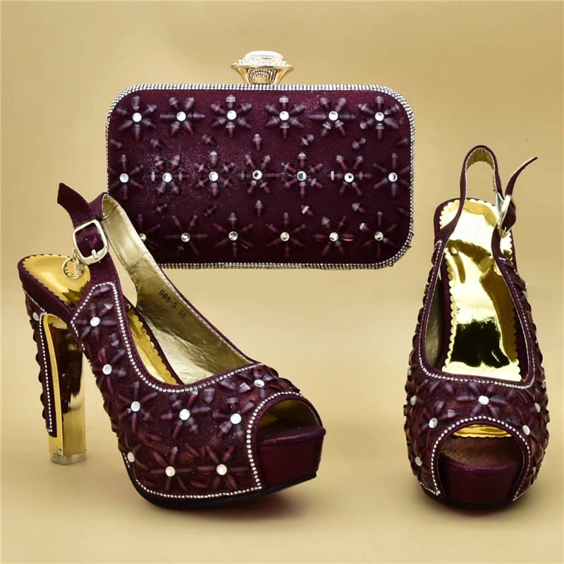 High Heel Italian Shoes with Matching Purse - LEPITON