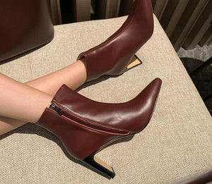 Genuine Leather Oblate Heels Pointed Toe Shoes