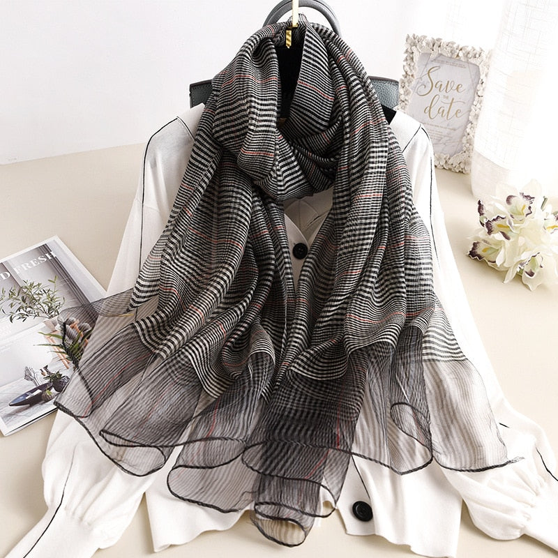 Solid Plaid High Quality Foulard Pashmina Scarf