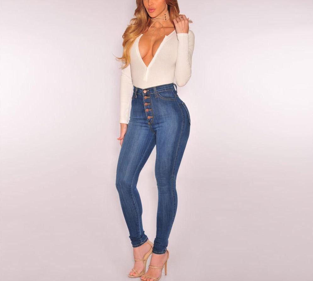 High-Waist Slim Stretch Denim Jeans - LEPITON