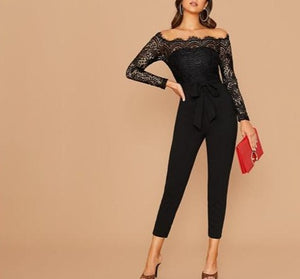 Off Shoulder Lace Bodice Self Belted High-Waist Skinny Jumpsuit - LEPITON