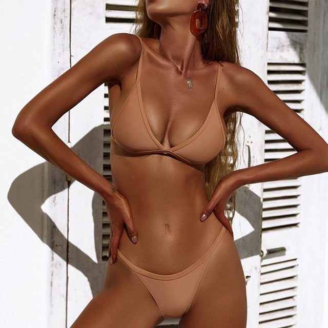 Beige Bandage Push-up Brazilian Low Waist Bikini - LEPITON