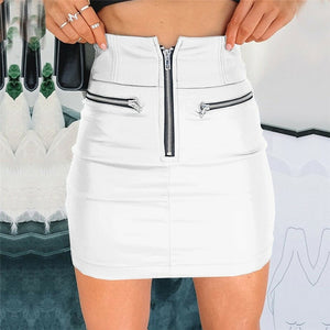 High Waist PU Leather Pencil Skirt - LEPITON