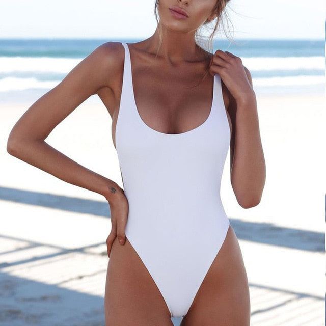 Simple Stylish One Piece Swimsuit - LEPITON