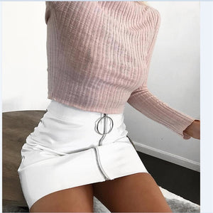 High-Waist Circle Zipper Mini Skirt - LEPITON