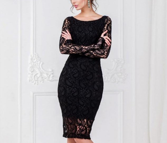 Elegant Lace Long Sleeve O-Neck Pencil Bodycon Dress - LEPITON