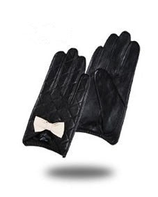 Genuine Touch Screen Goatskin Bow Cute Gloves - LEPITON