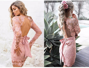 Lace Embroidery Backless Mini Bodycon Bandage Dress - LEPITON