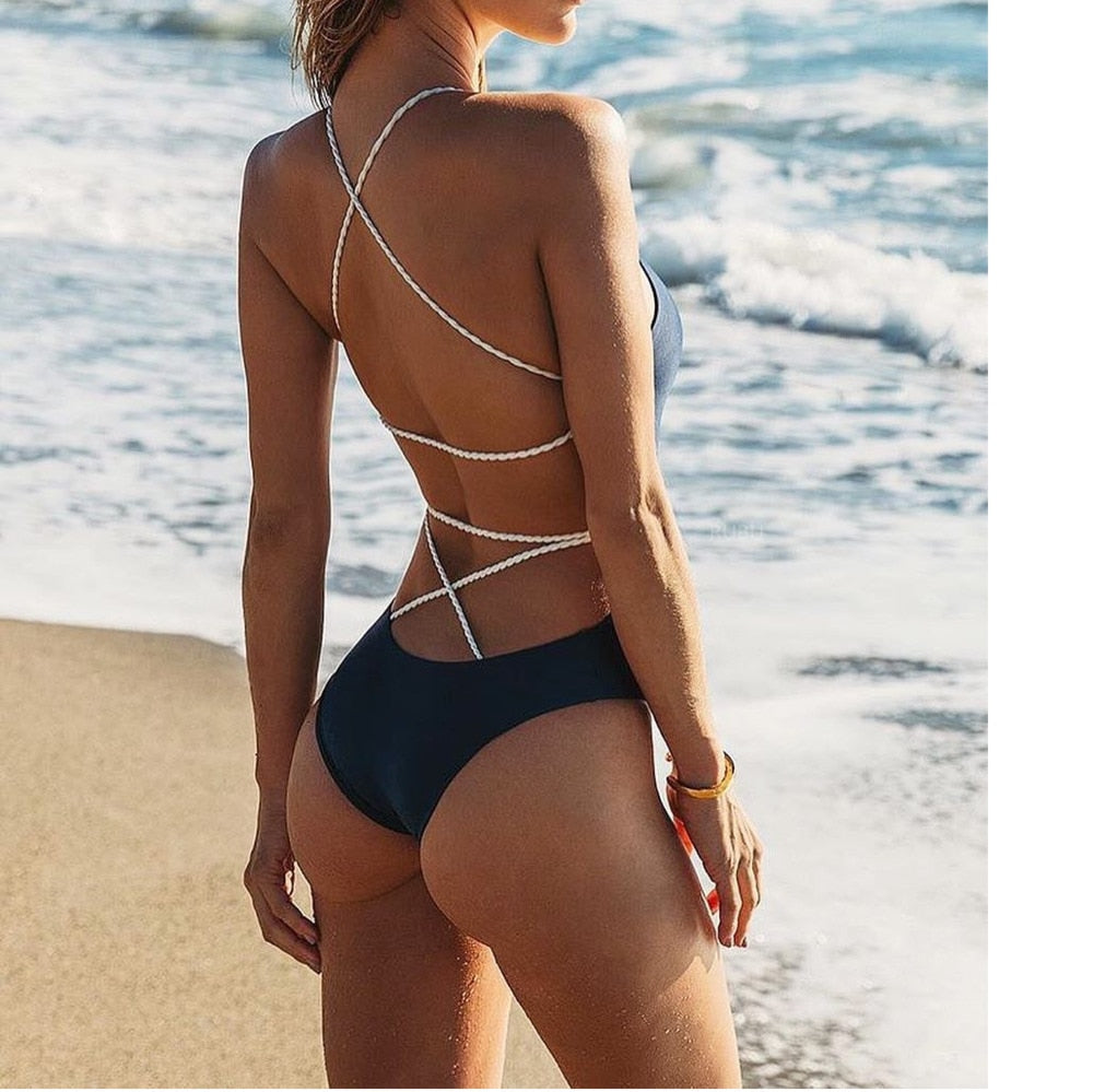 Strappy One-Piece High-Waist Swimsuit - LEPITON