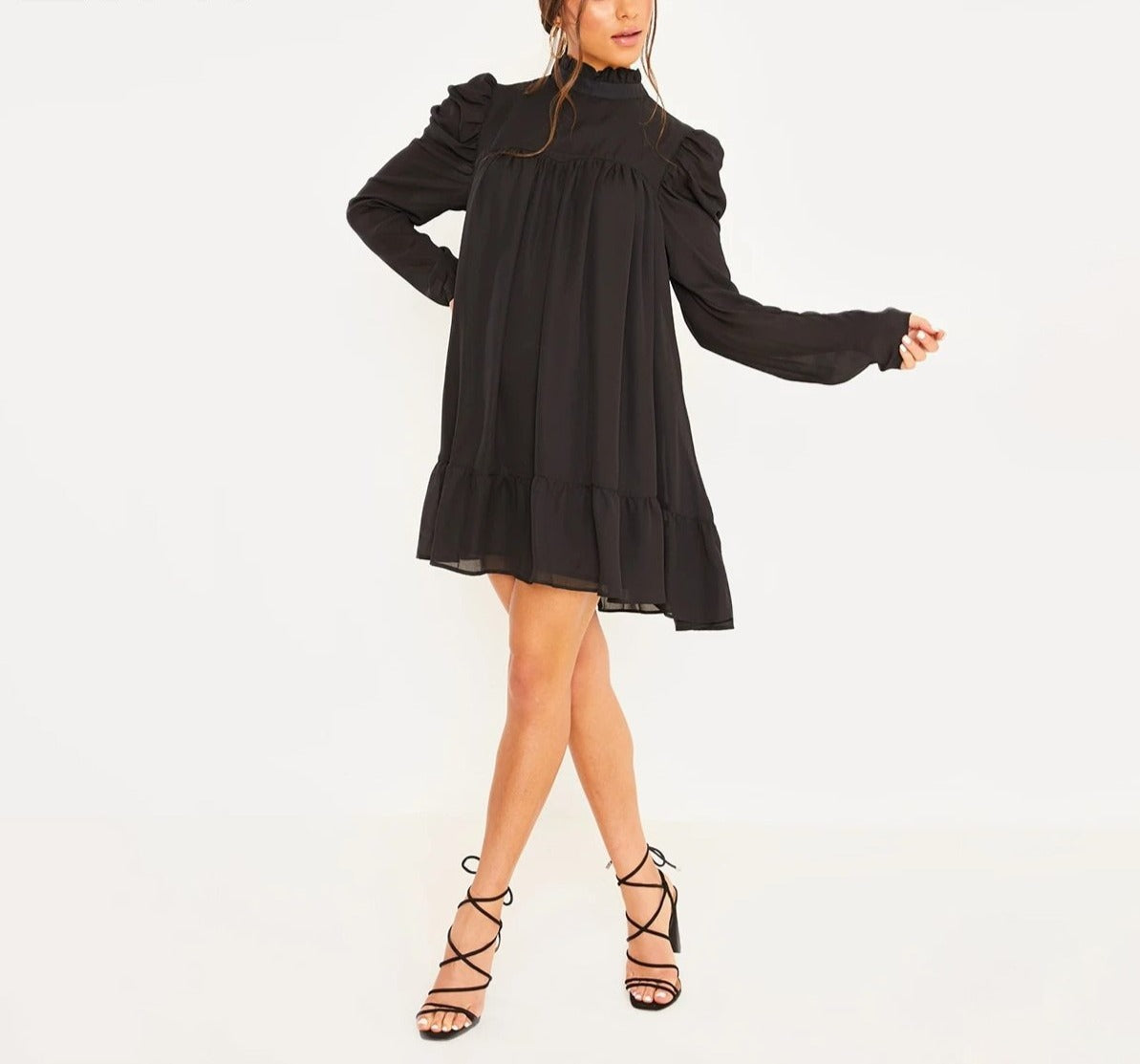 Puff Sleeve Turtleneck Ruffles Chiffon Dress - LEPITON