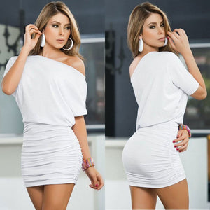 One Shoulder High Waist Slash Neck Pleated Mini Dress - LEPITON