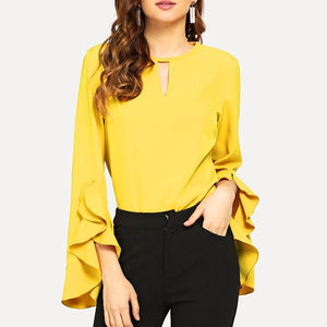 Ruffle Flare Long Sleeve Blouse - LEPITON
