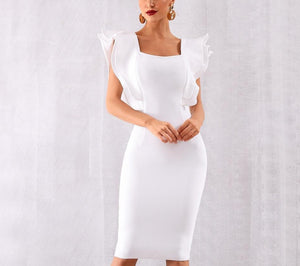 Ruffles Butterfly Sleeve Bodycon Dress - LEPITON