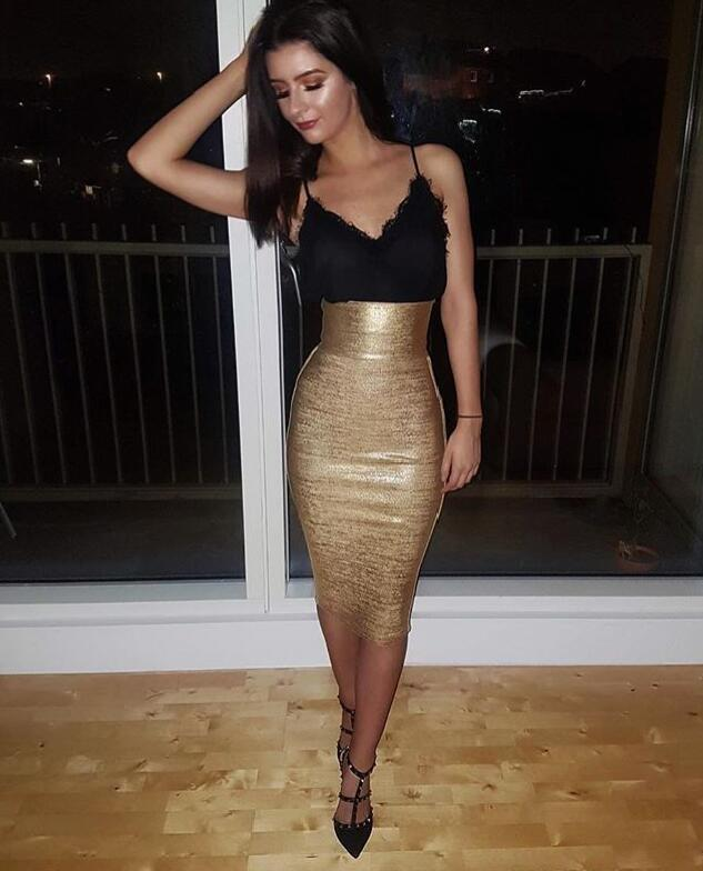 Gold Bronzing Sweet Lady Bandage Skirt - LEPITON
