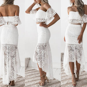 Hollow Out Floral White Lace Off Shoulder Strapless Dress - LEPITON