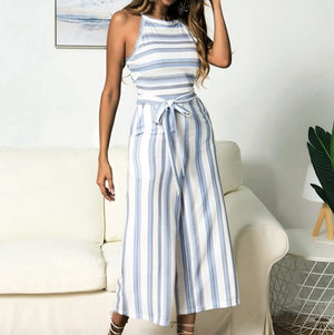 Stripe Sleeveless Elegant Bandage Jumpsuit