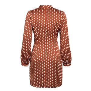 Elegant Round Neck Polka Dot Lantern Sleeve Midi Dress - LEPITON