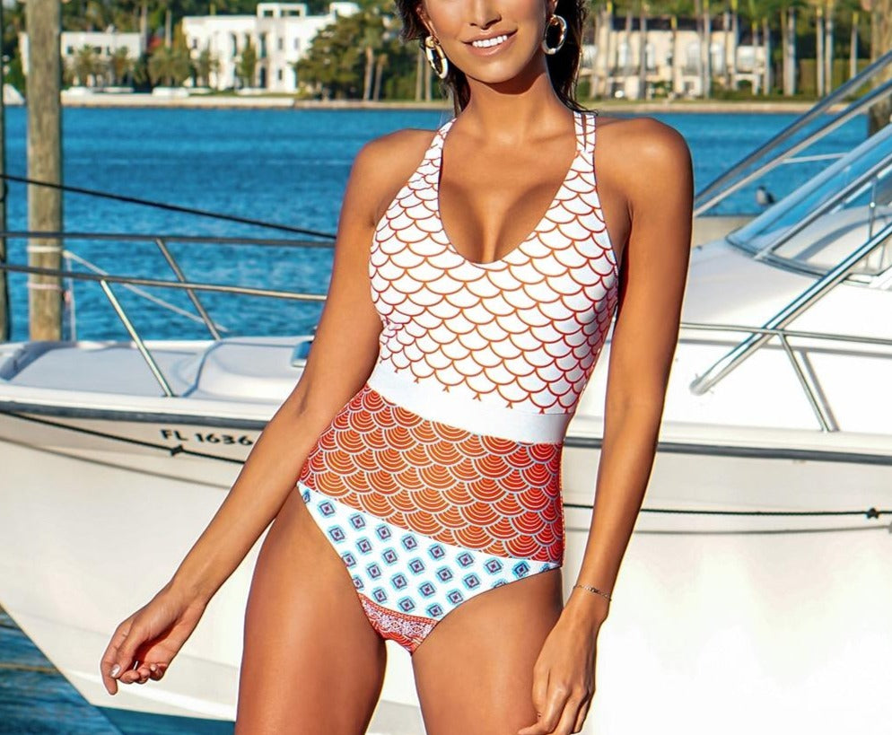 World Print One-Piece Swimsuit - LEPITON