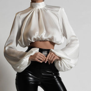Satin Solid Stand Collar Lantern Sleeve Cropped Blouse - LEPITON