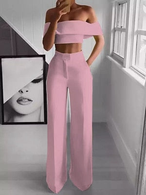Off the Shoulder Crop Top and Wide Leg Pants Suit - LEPITON