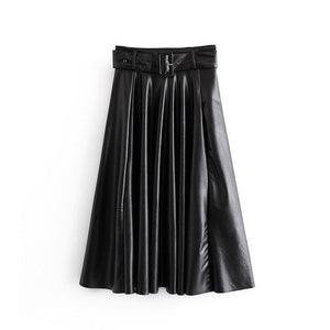 Faux Leather Elegant Tie-Belt High-Waist Long Pleated Skirt - LEPITON