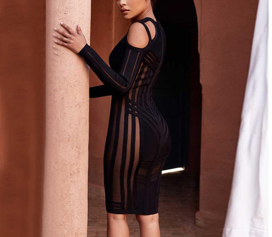 Bodycon Striped Hollow Out Mesh Dress - LEPITON