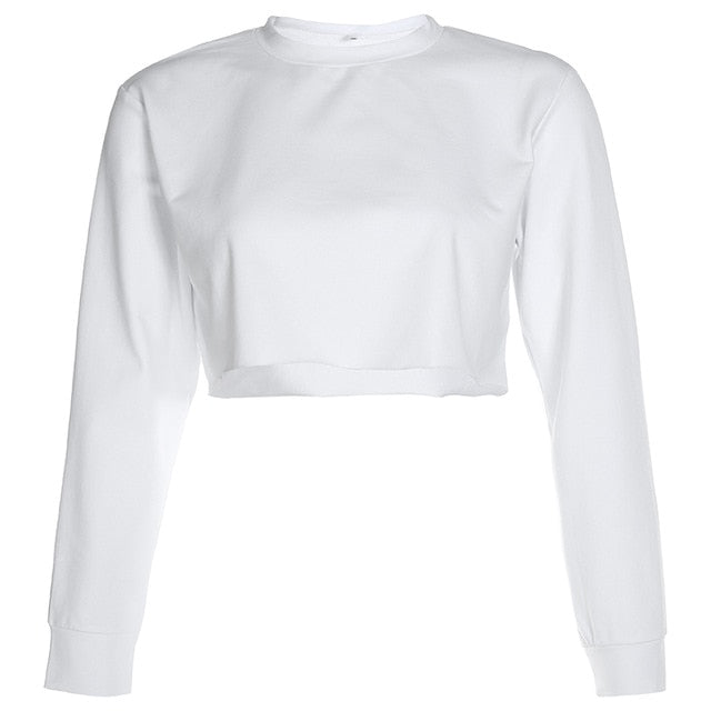 Loose O-Neck Long Sleeve Stretch Crop Top Pullover - LEPITON