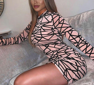 Chaotic Mesh Sheer Round Neck Long Sleeve Mini Bodycon Dress - LEPITON