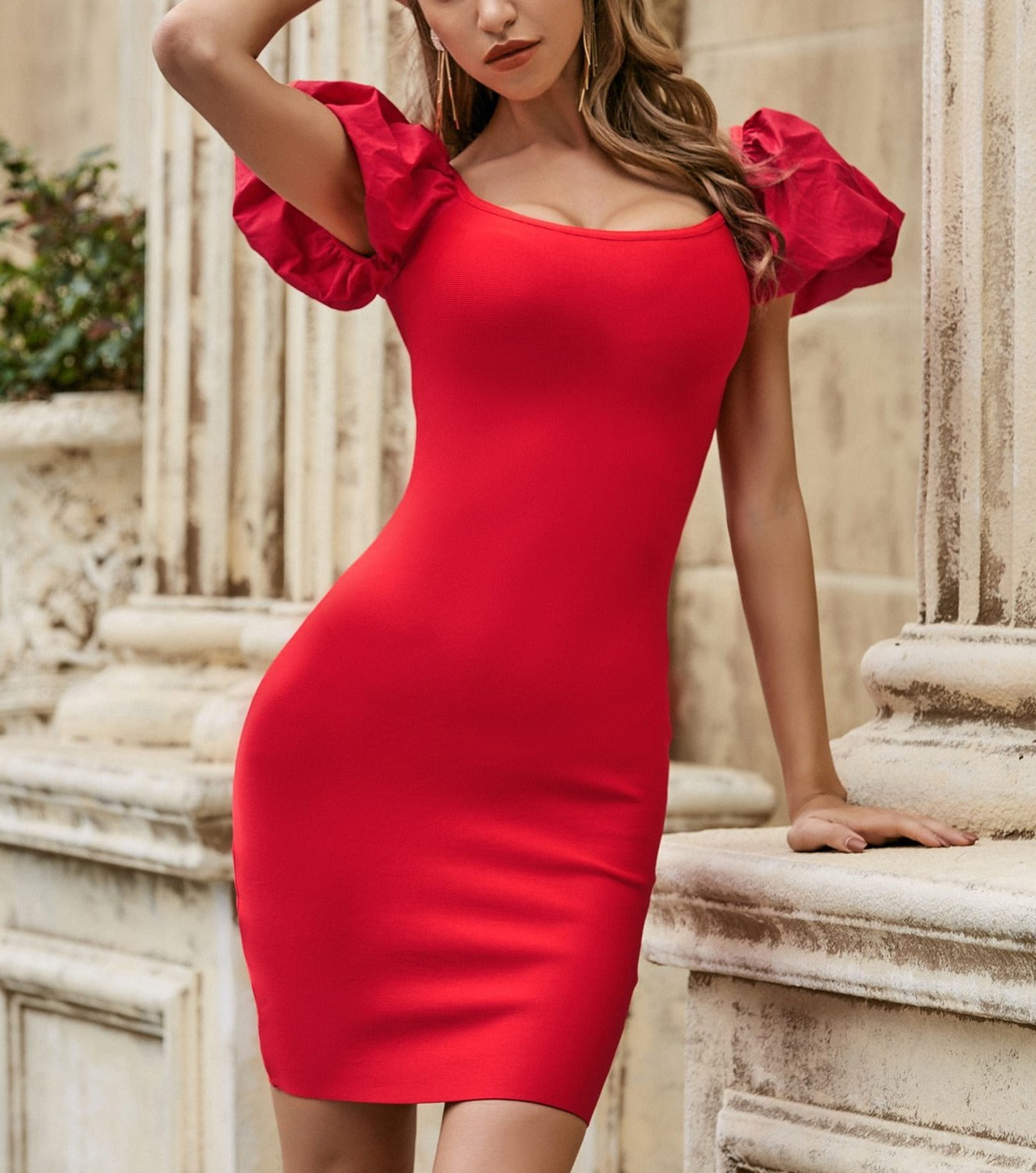 Puff Sleeve Backless Bodycon Bandage Elegant Evening Dress