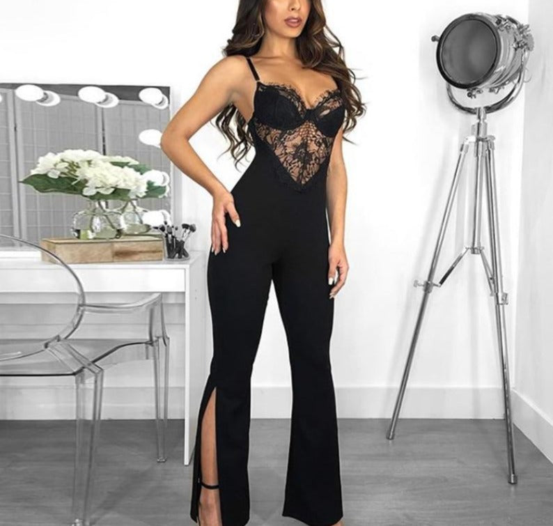 Deep V-Neck Lace Sleeveless Jumpsuit - LEPITON