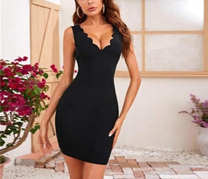 Deep V-Neck Scallop Trim Bodycon Dress - LEPITON