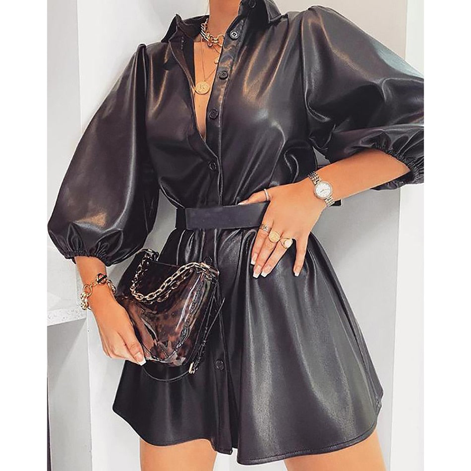 PU Leather Lapel Puff Sleeve A-Line High-Waist Mini Dress - LEPITON